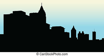 Atlanta Skyline - Skyline silhouette of the city of Atlanta,...