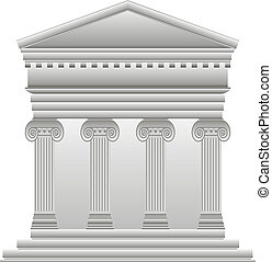 Ionic Greek temple on white background