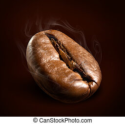 steaming coffee bean, macro shot
