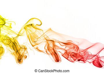 Rainbow smoke isolated on white background