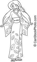 Caucasian Woman In Kimono Coloring Page - Vector...