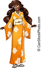 African Woman In Yellow Kimono - Vector illustration of an...