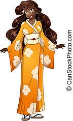 African Woman In Yellow Kimono
