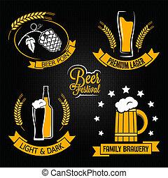 cerveza, vidrio, botella, etiqueta, Conjunto