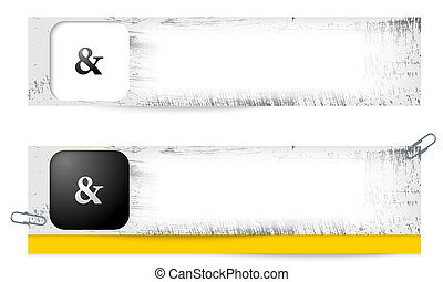 set of two dirty banners with ampersand