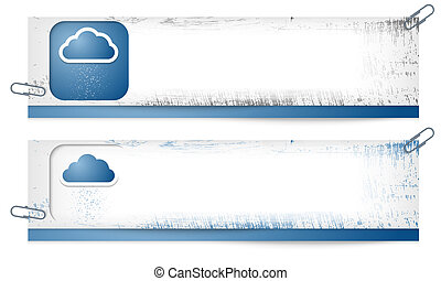 set of two dirty banners with cloud