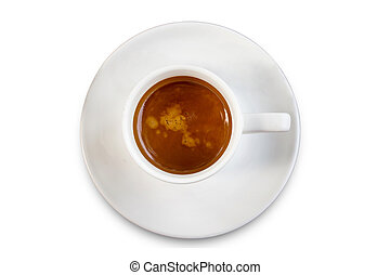 Coffee cup top view isolated on white background with reflect,clipping path