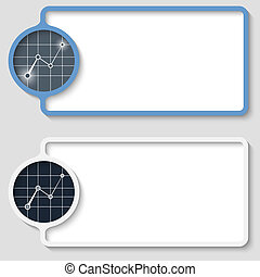 set of two abstract text frame with graph