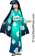 Asian Woman In Blue Kimono - Vector illustration of an asian...