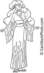 African Woman In Kimono Coloring Page - Vector illustration...