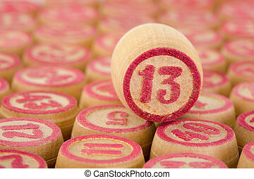 Counter of a bingo with number thirteen close up