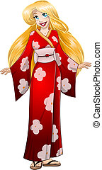 Blond Woman In Red Kimono - Vector illustration of a...