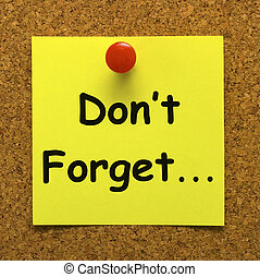 Don't Forget Note Means Important Remember Forgetting -...