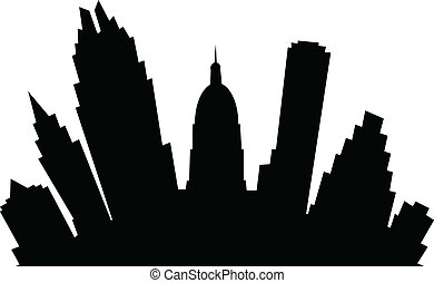 Cartoon Austin - A cartoon skyline silhouette of the city of...