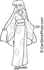 Asian Woman In Kimono Coloring Page - Vector illustration...