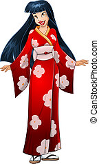 Asian Woman In Red Kimono - Vector illustration of an asian...
