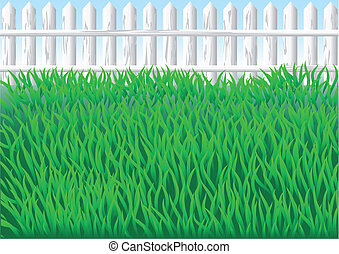 garden grass and white fence. 10 EPS