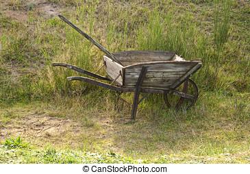 roda, antigas, carrinho mão