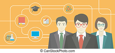 Team of Teachers with School Icons - Conceptual horizontal...