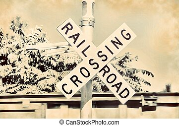 Railroad crossing sign train gate - Railroad crossing sign...
