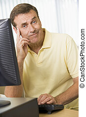 Confused man working on a computer