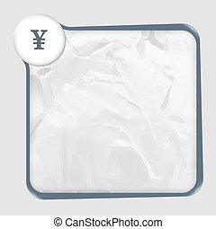 text box with texture of paper and yen sign