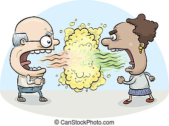 Bad Breath Fight - A cartoon man and woman attack one...