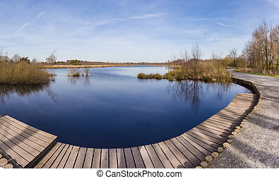 Panorama of Meerbaansblaak lake in De Peel - Panorama of...
