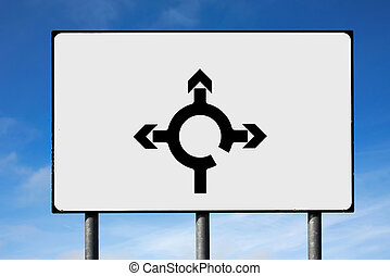 Road sign roundabout directions and room for your text