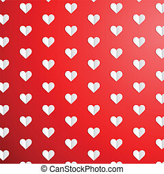 Valentines Day polka dot pattern with paper hearts -...
