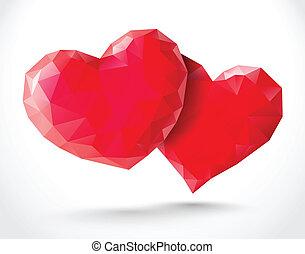 Couple of shiny hearts