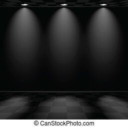 Black empty room with checkered floor and lamps