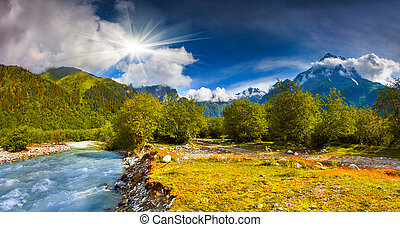 Fantastic landscape with a blue river in the mountains Upper...