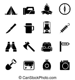 Silhouette tourism and hiking icons