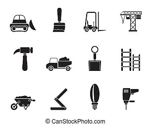 Building and Construction equipment - Silhouette Building...