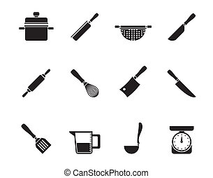 Silhouette Cooking equipment and tools icons - vector icon...