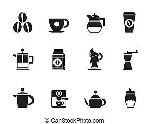 coffee industry signs and icons - Silhouette coffee industry...