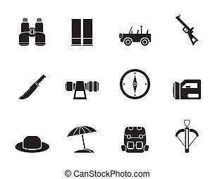 Silhouette safari, hunting icons