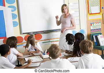 A teacher teaching a junior school class