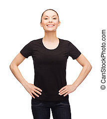 woman in blank black t-shirt - t-shirt design, happy people...