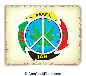 Rasta on paper - Leaf marijuana and pacifism and icon on the...