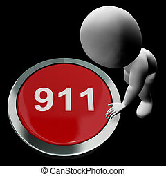 Nine One One Button Shows 911 Emergency Or Crisis