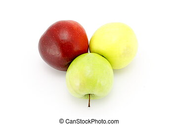Three apples red, yellow, green