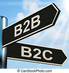 B2B B2C Signpost Meaning Business Partnership And...