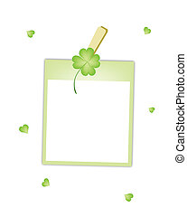 Blank Photos with Four Leaf Clover Hanging on Clothesline