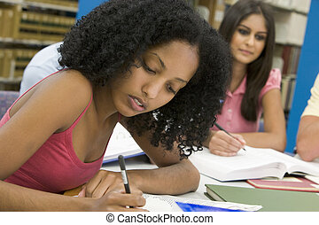 University student working in library - Female student...
