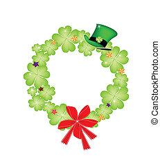Saint Patrick Wreath of Shamrock and Red Bow
