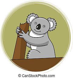 Koala on a tree. Vector illustration.