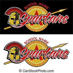 spartans mascot design with helmet and shield