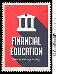 Financial Education on Red in Flat Design. - Financial...